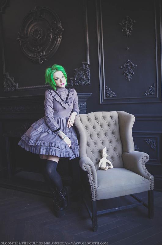 grey gothic victorian dress