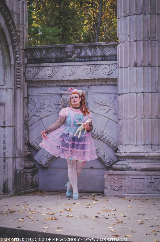 plus size sheer pink lolita dress